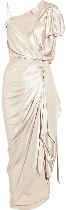Lanvin Asymmetric silk-satin wrap gown