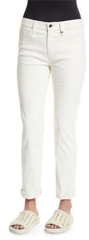 Helmut Lang Cropped Cotton Ankle Jeans, White