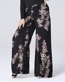 Print Super Wide Flared Leg Trousers Short
