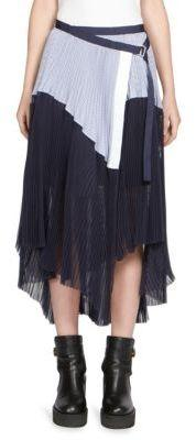 Sacai Pleated Colorblock Skirt