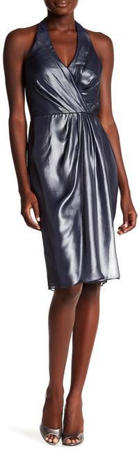 Vera Wang Metallic Chiffon Halter Dress