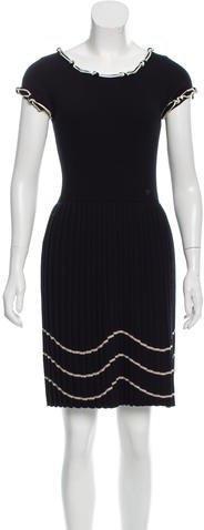 Chanel Satin-Trimmed Wool Dress