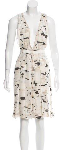 Zac Posen Printed Silk Dress