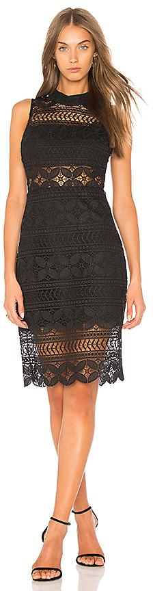 J.O.A. Mock Neck Lace Dress In Black in Black