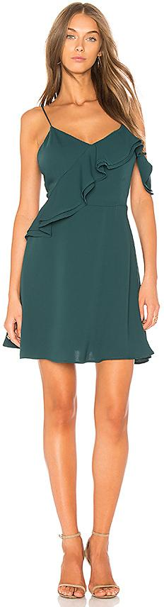 J.O.A. Double Ruffle Fit & Flare Dress In Green in Green