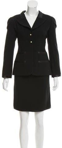 Chanel Silk-Trimmed Wool Skirt Suit