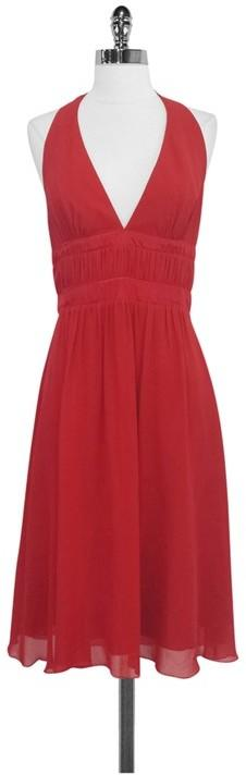 BCBG Red Silk Halter Dress