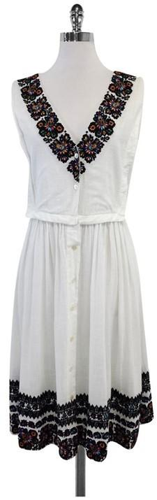Suno White Floral Embroidered Neckline & Hem Dress