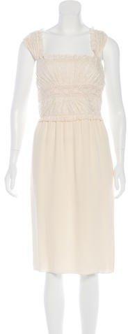 Valentino Lace-Trimmed Midi Dress