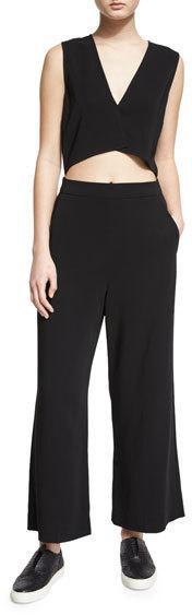 A.L.C. Edwards Sleeveless Wide-Leg Jumpsuit, Black
