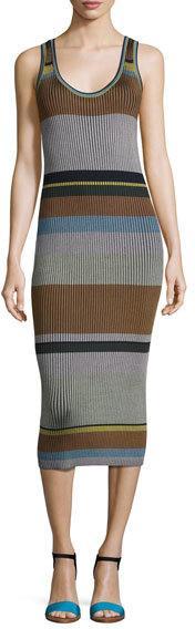 Diane von Furstenberg Striped Ribbed Tank Midi Dress, Blue Pattern