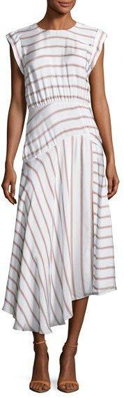 Veronica Beard Jackie Asymmetric Striped Midi Dress, White