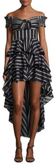 Caroline Constas Artemis Off-the-Shoulder Striped High-Low Dress