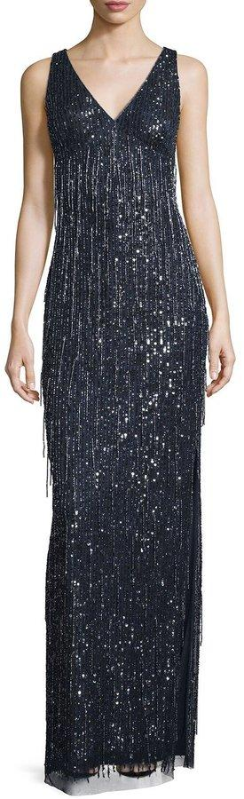 Aidan Mattox Sleeveless Beaded Fringe Column Gown, Twilight