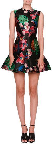 Valentino Tropical Dream Brocade Sleeveless Dress, Black/Multi