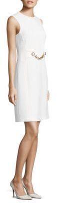Michael Kors Collection Stretch Boucle Chain-Waist Shift Dress
