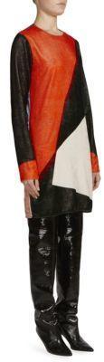 Cedric Charlier Velvet Colorblock Mini Dress