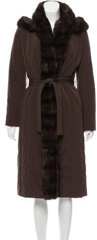Davide Cenci Sable-Trimmed Long Coat