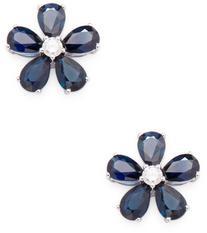 Flower shape Blue Sapphire Studs
