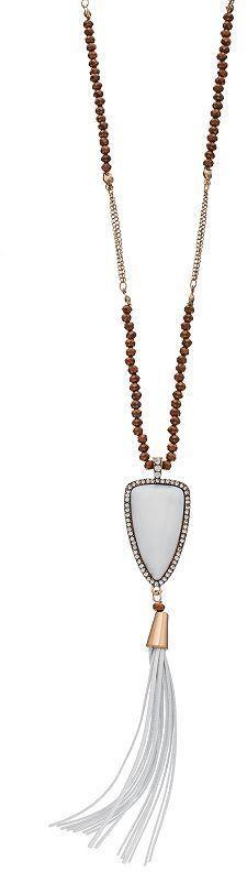Long Beaded Triangular Tassel Pendant Necklace