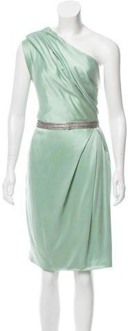 Lela Rose Silk One-Shoulder Dress