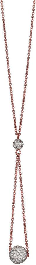 Brilliance Rose Gold Tone Silver Plated Looped Ball Necklace with Swarovski Crystals