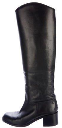 Chanel Leather CC Riding Boots