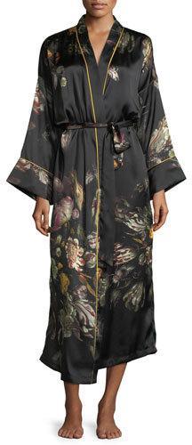 Morpho + Luna Sofia Floral-Print Long Silk Robe