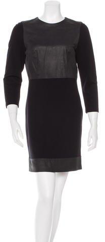 Robert Rodriguez Leather-Paneled Long Sleeve Dress
