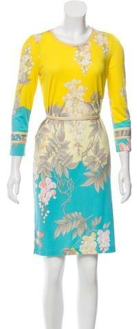 Leonard Printed Silk Dress w/ Tags