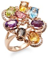 14K Rose Gold Ring with Diamond, Amethyst, Blue Topaz, Citrine, Pink Tourmaline, and Peridot