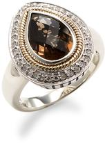 Sterling Silver and 18K Yellow Gold Diamond and Smokey Quartz Ring