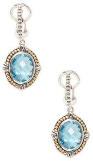 Sterling Silver and 18K Yellow Gold Blue Topaz Earrings