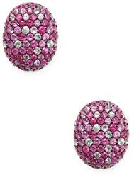 Sterling Silver Multi Color Pink Sapphire Earrings