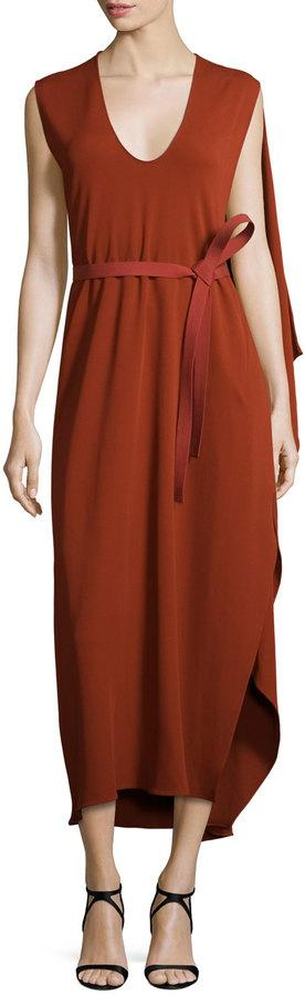 Narciso Rodriguez Sleeveless Belted Cape Dress, Rust