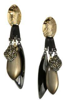 Alexis Bittar Lucite Pyrite & Leather Clip-On Earrings