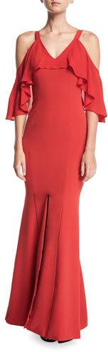 JAY X JAYGODFREY Naomi Cold-Shoulder Ruffled Trumpet Evening Gown