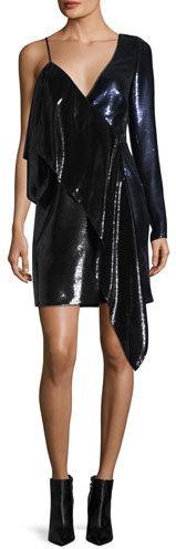 Diane von Furstenberg One-Shoulder Ruffle Sequin Mini Dress