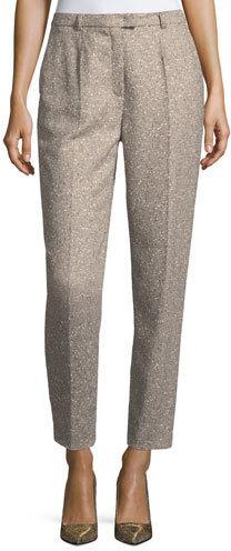 Escada Talarant Straight-Leg Tweed Ankle Pants