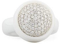 Roberto Demeglio Dama Medium White Ceramic Stretch Ring with Diamonds