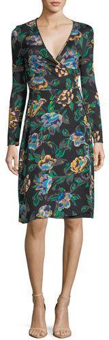 Diane von Furstenberg Floral-Print Long-Sleeve Side-Tie Wrap Dress