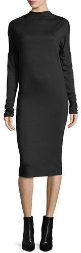 Theory Mock-Neck Long-Sleeve Drapey Jersey Midi Dress
