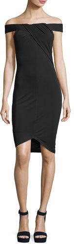 Kendall + Kylie Off-the-Shoulder Crossover Crepe Dress