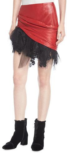Redemption Ruched Tulle-Trim Mini Skirt