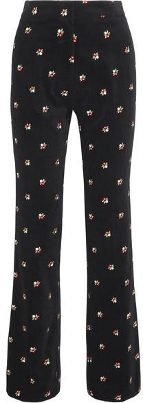 ALEXACHUNG - Embroidered Cotton-velvet Straight-leg Pants - Black