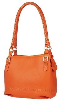 Fontanelli Orange Stiched Soft Leather Handbag