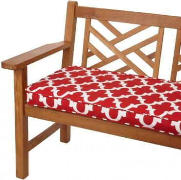 Scalloped Red 48 inch Indoor Outdoor Corded Bench Cushion