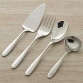 Stanton Mirror 4-Piece Serving Set: pastry server, serving fork, serving spoon, sauce ladle.