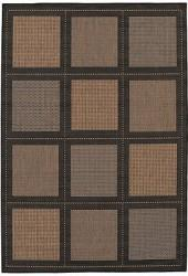 "Couristan Area Rug, Recife Indoor/Outdoor Summit/Cocoa-Black 1043/2500 3'9"" x 5'5"""