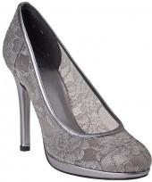 STUART WEITZMAN EVENING Lace Swoon Pewter